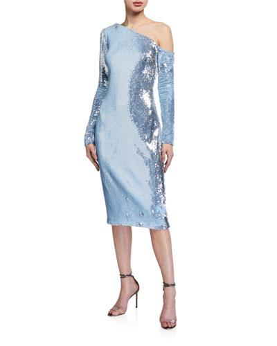 Sequin One-Shoulder Long-Sleeve Sheath Dress