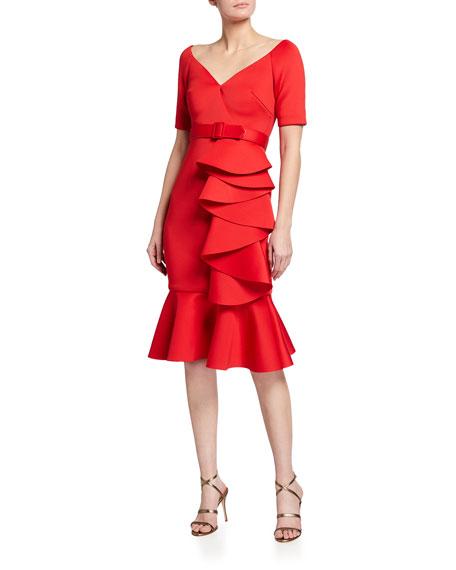 Badgley Mischka Collection Off-the-Shoulder Flounce-Hem Draped Ruffle Dress