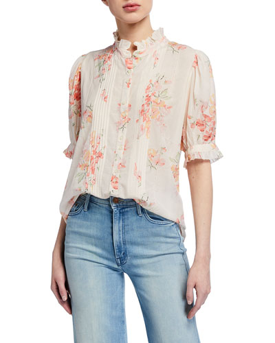 The Fiddle Floral Print Pintucked Top