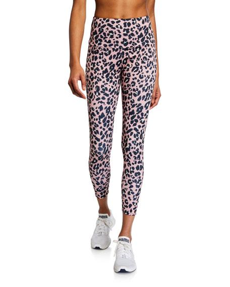 Onzie High Basic Midi Rose Leopard Printed Leggings