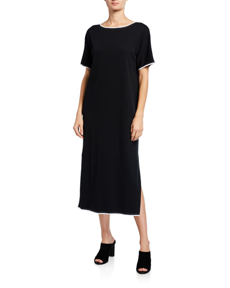 Joan Vass Petite Dolman-Sleeve Dress with Contrast Trim