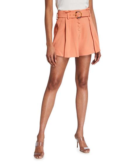 Jonathan Simkhai Lena Belted Crepe Shorts