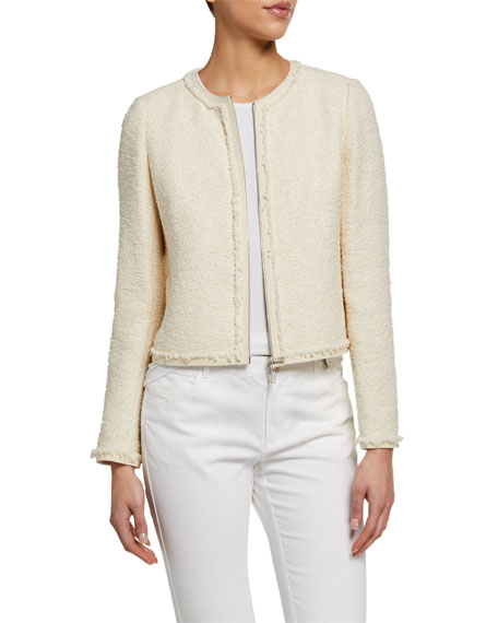 Lafayette 148 New York Charlie Portfolio Tweed Zip-Front Jacket