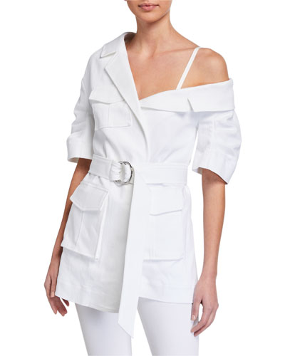 Katie Off-Shoulder Asymmetric Utility Jacket