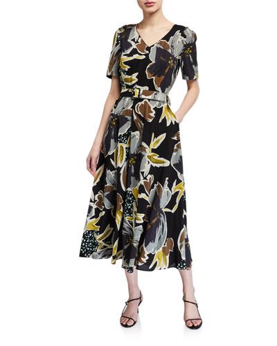 Roland Poppy Print Belted Silk Midi Dress