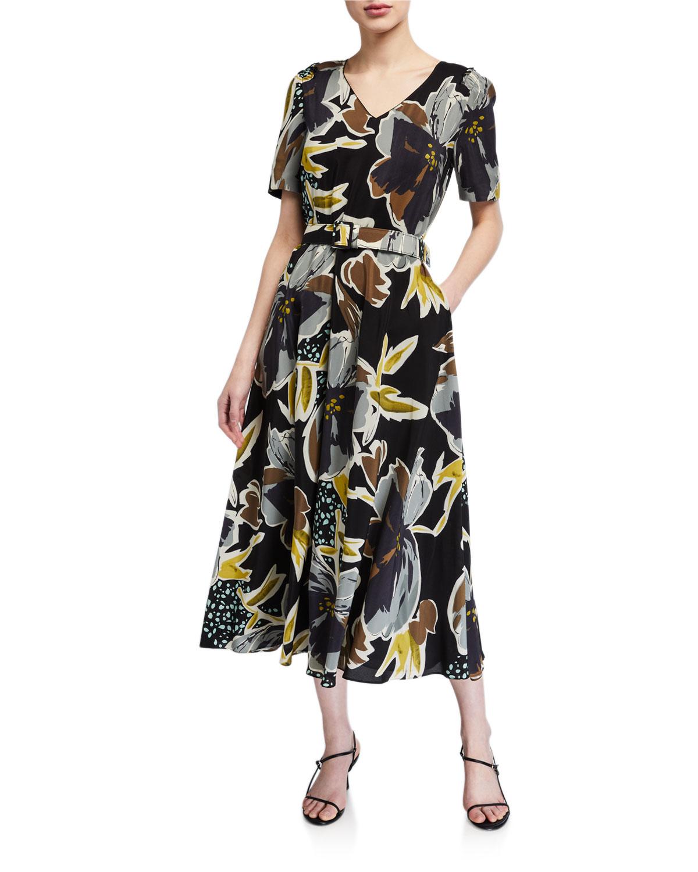 Lafayette 148 Dresses ROLAND POPPY PRINT BELTED SILK MIDI DRESS