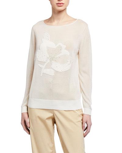 Fine-spun Voile Sheer Embellished Sweater