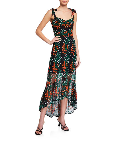 Wren Floral Embroidered Tie-Strap High-Low Dress