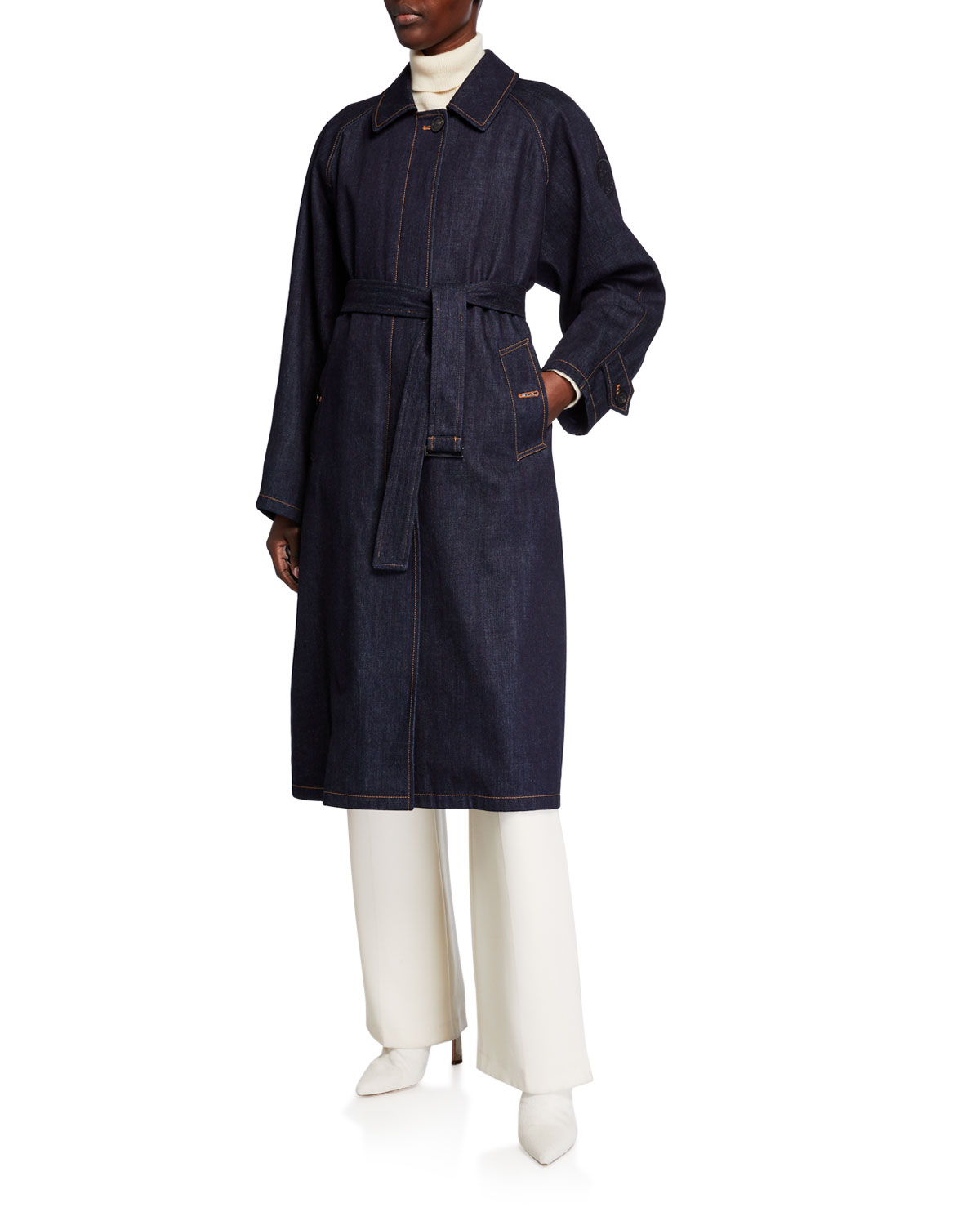 Moncler Coats PISTACHE LONG DENIM TRENCH COAT