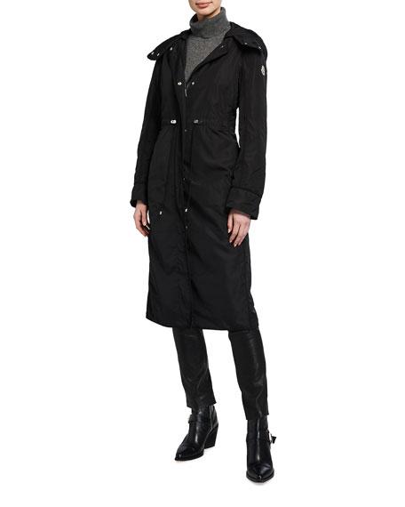 Moncler Aquilan Long Hooded Nylon Jacket