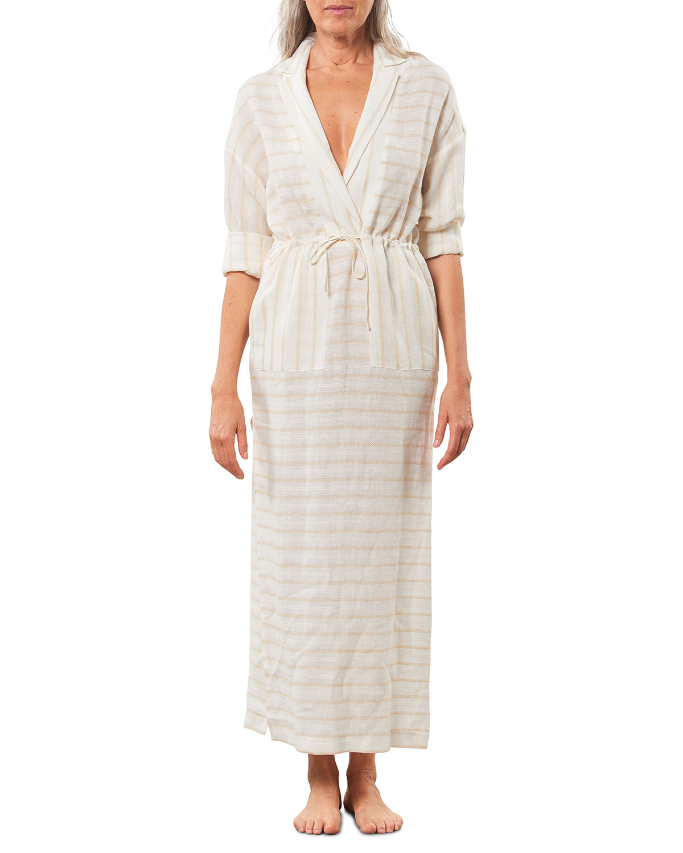 Diega Striped Tie-Waist Long Dress