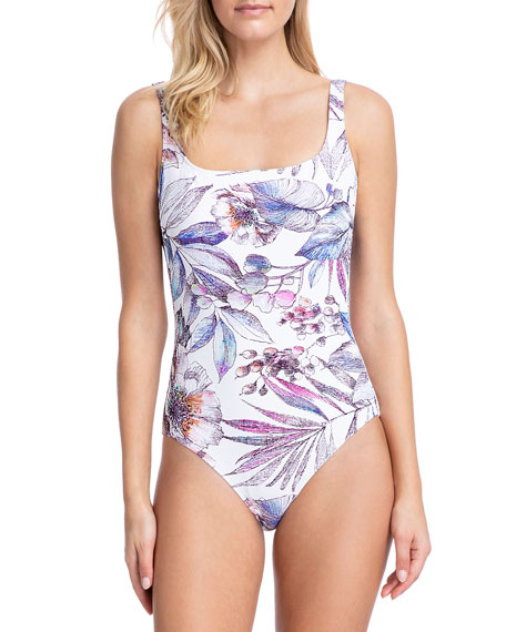 Gottex First Bloom Square-Neck One-Piece Swimsuit