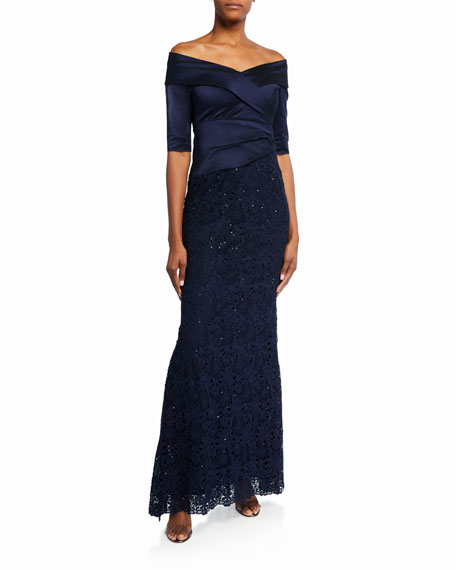 Rickie Freeman for Teri Jon Off-the-Shoulder Draped Metallic Gown w/ Lace Skirt