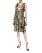 Lafayette 148 New York Laurie Leopard Sequin Sleeveless