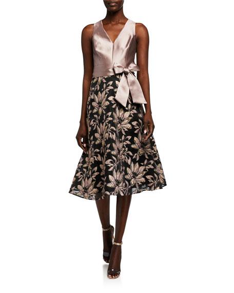 Rickie Freeman for Teri Jon V-Neck Sleeveless Two-Tone Jacquard Dress