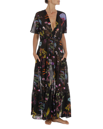 Trippy Floral Short-Sleeve Coverup Dress