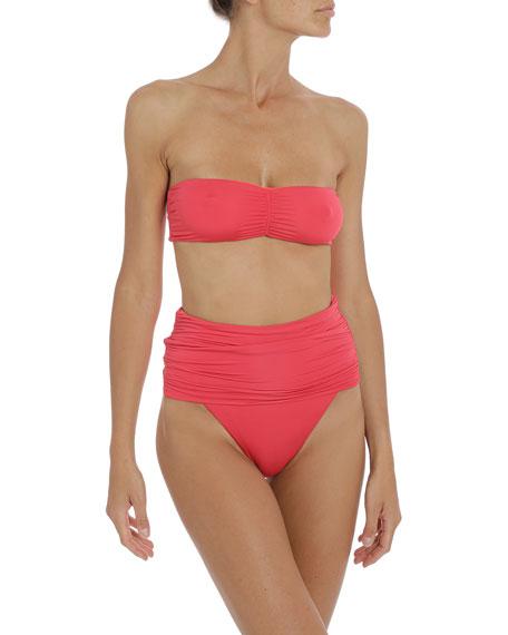 Stella McCartney Ruched High-Rise Bikini Bottom