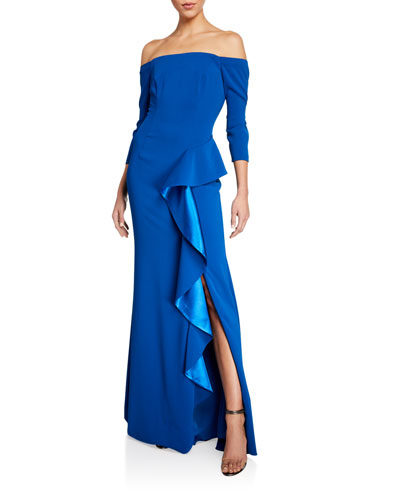 Off-the-Shoulder 3/4-Sleeve Asymmetric Side Ruffle Gown