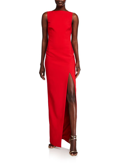 Likely Pavlina Bateau-Neck Sleeveless Side Slit Column Gown