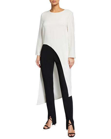 Veronica Beard Rome Long-Sleeve High-Low Top