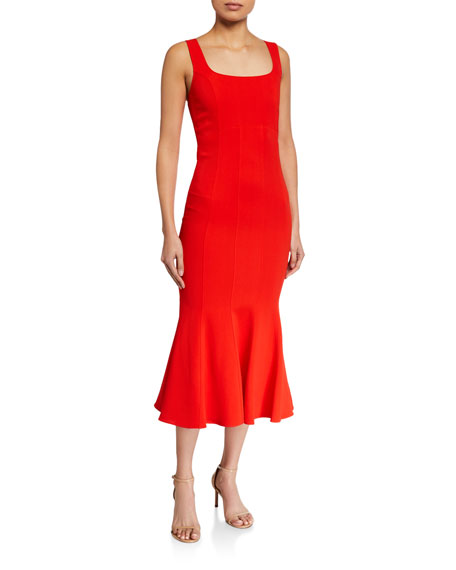 Veronica Beard Gloria Square-Neck Flared Dress