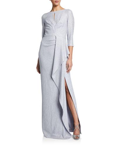 Metallic 3/4-Sleeve Cascading Ruffle Side Draped Gown