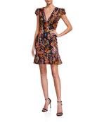 Dress The Population Corrine Floral Sequin Cap-Sleeve Mini