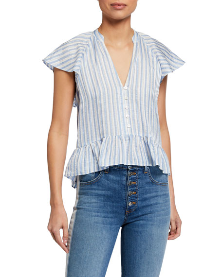 Veronica Beard Maple Striped Button-Down Top