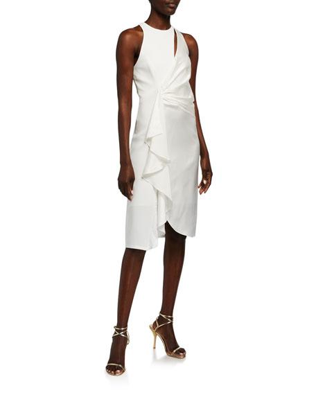 cinq a sept Clemency Drape-Front Satin Combo Dress