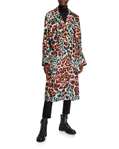 Perle Long Leopard-Print Coat