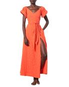 Mara Hoffman Adelina Short-Sleeve Wrap Coverup Dress