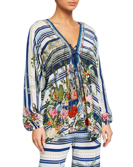 Camilla Printed Lace-Up Silk Blouse