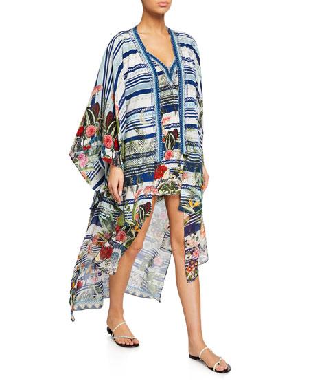 Camilla Layered Silk Kimono with Long Underlay