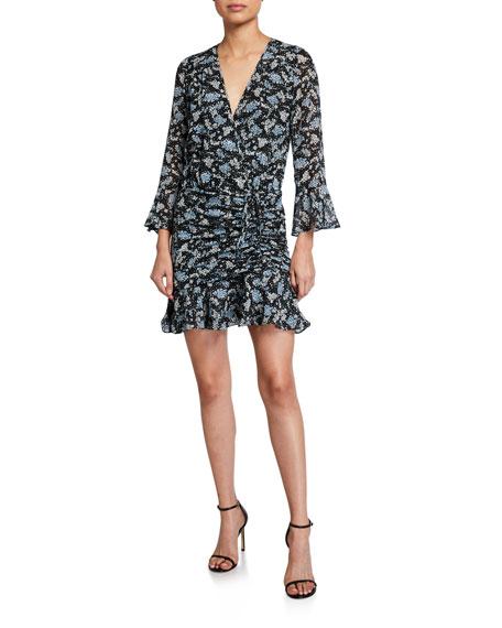 Veronica Beard Sean Ruched Floral-Print Dress