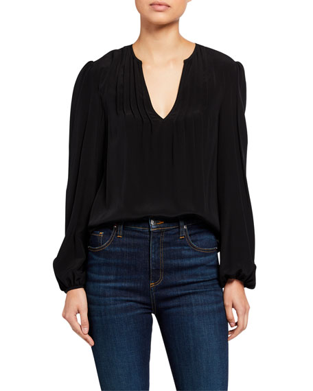 Veronica Beard Staci Silk V-Neck Top