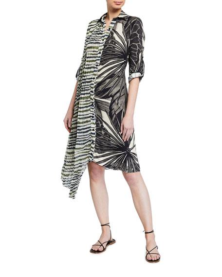 Agua de Coco Mixed-Print Asymmetric Coverup Dress