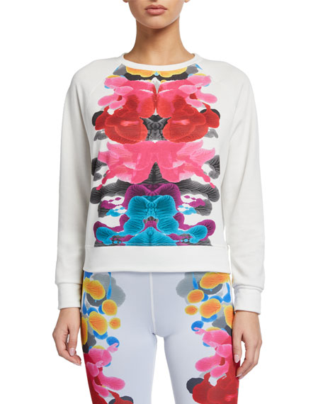 Terez Abstract Printed Placement Crewneck Sweatshirt