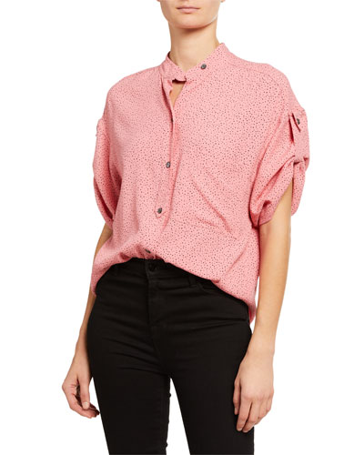 Drace Elbow-Sleeve Button-Down Top