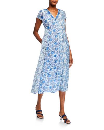 Emily Beaded V-Neck Cap-Sleeve Dress