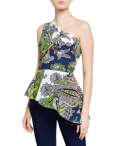 King Printed One-Shoulder Peplum Top