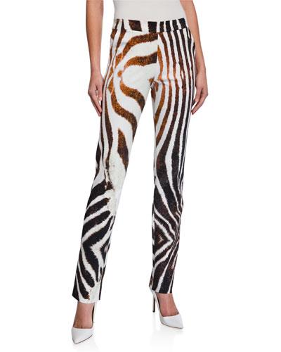 Petronilla Animal-Print Straight-Leg Pants