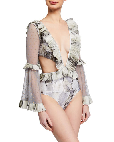 Plunging Long-Sleeve Ruffle One-Piece Swimsuit