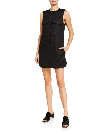 Equipment Jalil Sleeveless Short Linen Dress