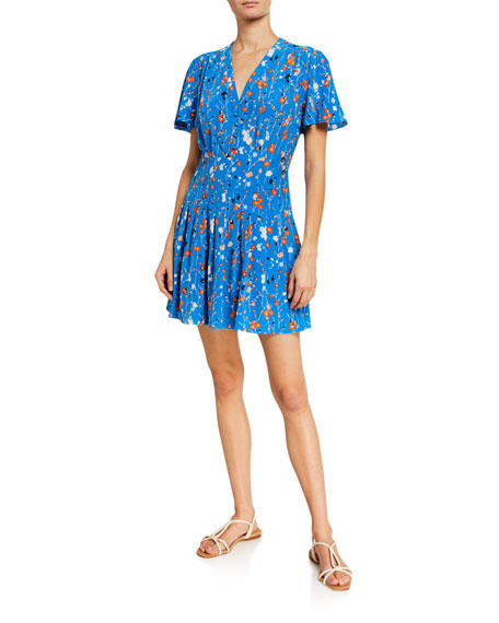 Equipment Lisle Floral Short-Sleeve Mini Dress