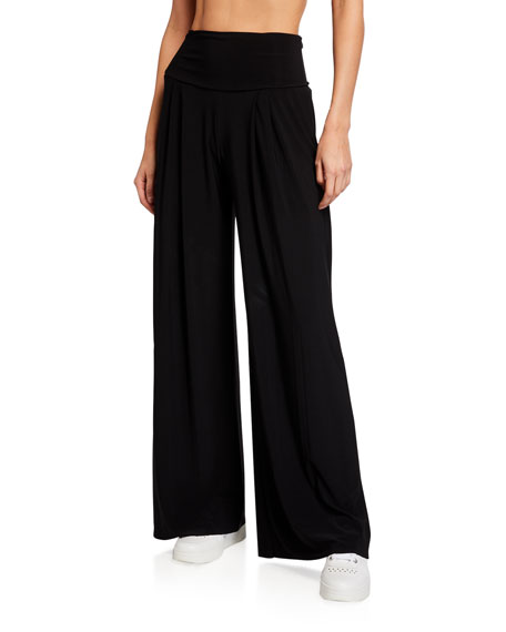 Norma Kamali High-Waist Pleated Pants
