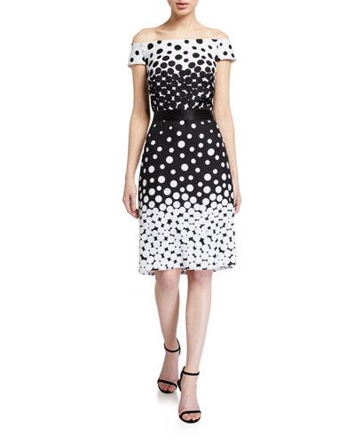 Ombre Dot Off-the-Shoulder Sheath Dress