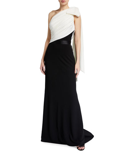Two-Tone One-Shoulder Crepe Gown w/ Bow Detail