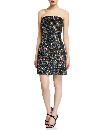 Coralie Multicolor Sequin Strapless Dress