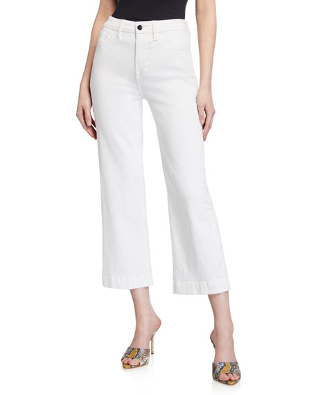 Jen7 by 7 for All Mankind Mid-Rise Cropped Wide-Leg Jeans