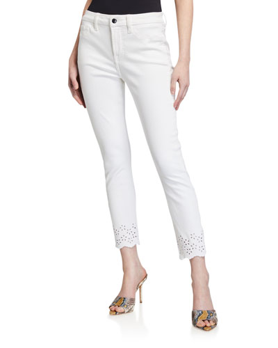 Ankle Skinny Eyelet Mid-Rise Jeans